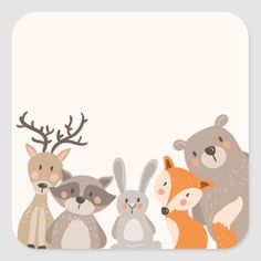 Shop Woodland baby shower favor tag Sticker Animals Fox created by Anietillustration. Quilt Baby, Woodland Baby, Woodland Nursery, Forest Animals, Woodland Animals, Decoration Creche, Baby Illustration, Baby Art, Woodland Creatures