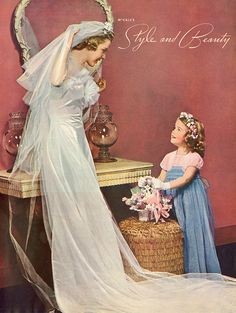 Style and beauty on your wedding day (1939). #vintage #bride #wedding #dress #1930s