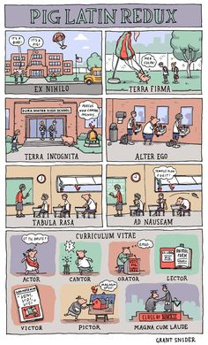 INCIDENTAL COMICS: Pig Latin Redux - I love this for teaching Latin Phrases! My students were laughing so hard when we went over this :) *MCB