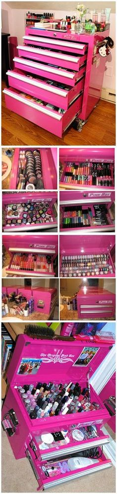 Use a Toolbox for your Makeup Why not store your jewelry in here?  THIS is PERFECT for jewelry! Just lay some thing soft to put your jewelry on.......LOVE the bright pink too!