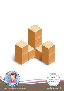 Bouwkaart 3 moeilijkheidsgraad 3 voor kleuters, kleuteridee, Preschool card building blocks with toddlers 3, difficulty 3.