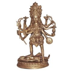 Indian Goddess Kali Figurine Religious Brass Sculpture from India
