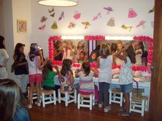 Pop Star Birthday Party: set up make-over station for fashion show