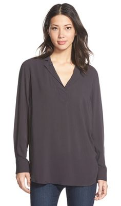 Pewter Notched Collar Popover Blouse is a much have for fall. It can be worn for career or casual wear.