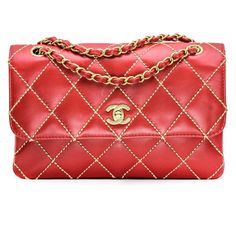 6f4af786ac0d Chanel Medium Classic Quilted Flap Bag in Red Leather with Beige Wild Stitch