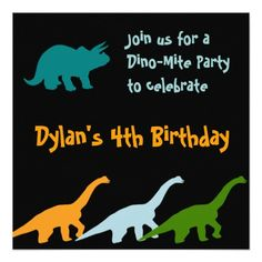 Cute Dinosaur Birthday Party Invitations Black