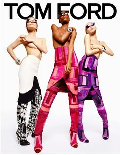 Models Soo Joo Park Gemma Refoufi Herieth Paul Zuzanna Bijoch electric Tom Ford FW 2013 campaign shot by Tom Ford photographer Hot Pink Eyes Eye Make Up Beauty Cat Eye Sunglasses Color Block Skirts Thigh High Boots Purple Pink Red Black White ColorBlock Skirt Graphic Print Boots