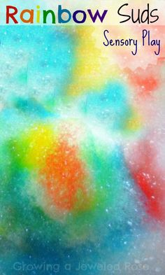 Whip up some rainbow suds for super fun sensory play!  Great in the water table, a sensory bin, the sink, bath, and play pool!