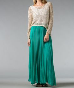 Take a look at this Natural Hi-Low Net-Knit Sweater - Women by Kaktus on #zulily today!