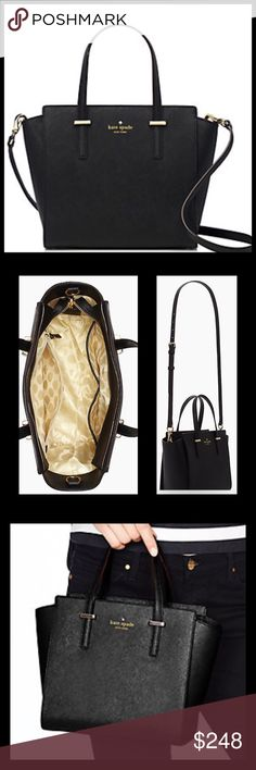 """♠️Kate Spade Cedar Street Small Hayden Kate Spade Cedar Street Small Hayden♠️. 8.6""""x9.2""""x4.7"""". Crosshatched leather with matching trim. 14k light gold plated hardware. Interior Zip and double side pockets. Color is black. Gorgeous!  NEW WITH TAGS!  Would make a great GIFT!  🚫EXCLUDED from bundle discount 🚫NO TRADES!  NO LOWBALL OFFERS PLEASE! kate spade Bags"""