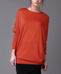 Orange Blouson Dolman Top