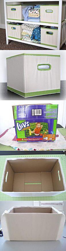 New storage diy cardboard ideas ideas Ikea Storage Boxes, Diy Toy Storage, Fabric Storage, Recycled Crafts, Diy And Crafts, Bedroom Storage Ideas For Clothes, Diy Rangement, Cardboard Box Crafts, Reuse Recycle