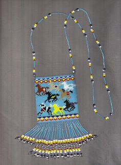 Beaded Painted Horses Amulet bag! 8 colorful horses are running with the wind.