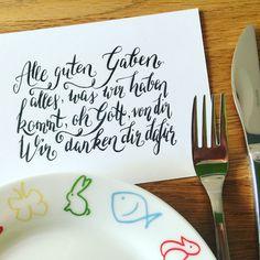 Kindergebet vor dem Essen - Brush Lettering                                                                                                                                                                                 Mehr