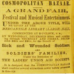Jan 11-15, 1863: James wrote about a guerrilla raid on some Union gunboats, and the importance of letters from Molly. James was happy to hear that Molly's bazaar was a great success, most likely the bazaar presented by the Ladies' Union Aid Society to benefit soldiers and their families. Advertisement for Cosmopolitan Bazaar to benefit sick and wounded soldiers, Missouri Republican, December 10, 1862. Missouri History Museum.