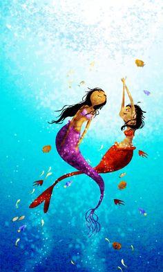 """Mermaid Art, Ocean Painting, Ocean Art, Mermaid Painting - """"Water Dance"""" - Art Print 13x19. $32.00, via Etsy."""