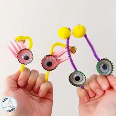Monster puppets Pipe Cleaners, 4 Kids, Measuring Spoons, Puppets, Crafts, Manualidades, Handmade Crafts, Diy Crafts, Craft