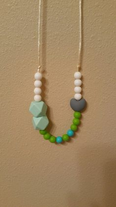 Baby teething necklace  by ThePeanutExpress on Etsy