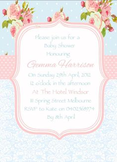 Image detail for -shabby chic invitations are perfect for a high tea party baby shower ...