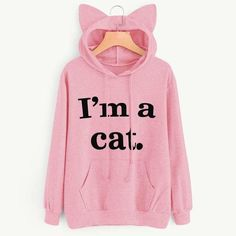 2019 Autumn Women Hoodie Sweatshirts Cat Ear Letter Printed Long Sleeve Casual Loose Pullover Tops Harajuku Hoody Pink S Sweatshirt Outfit, Cat Sweatshirt, Hoodie Sweatshirts, Red Hoodie, Hoodie Dress, Sweat Cool, Stylish Letters, Vetement Fashion, Tumblr Outfits