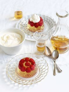Champagne jelly with raspberries http://www.gourmettraveller.com.au/champagne-jelly-with-raspberries.htm