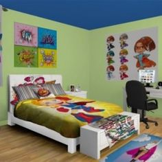 Toddler Boys Superhero Bedroom Ideas super hero shared room, making it work for boy and girl! finally