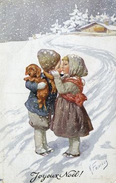 Such a sweet Christmas postcard ~ a little boy, with his puppy, and a little girl, kiss goodbye. Images Noêl Vintages, Images Vintage, Vintage Christmas Images, Old Christmas, Victorian Christmas, Retro Christmas, Vintage Holiday, Christmas Pictures, Christmas Greetings