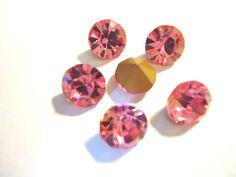 Vintage Glass Light Rose Pink colour round 8mm chaton rhinestone 6 pcs by JEDJewellerySupplies.com £2.99