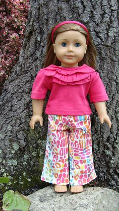 18 inch Doll Size Hot Pink or Turquise Blue ruffle by SweetPeaKidz, $18.00