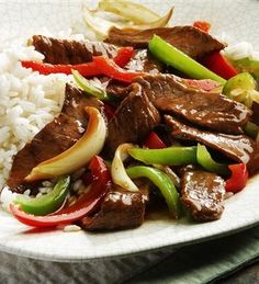 Crock Pot Pepper Steak - change out the rice for a healthier option.