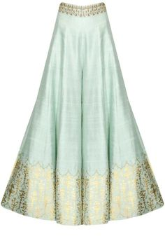This Sharara set features a mint green anarkali kurta in dupion base with white yellow flowers embroidery on the yoke. The sleeves of this sharara set appliqued Trajes Pakistani, Pakistani Dresses, Indian Dresses, Indian Outfits, Sharara Designs, Kurti Designs Party Wear, Fashion Pants, Fashion Dresses, Indian Designer Outfits
