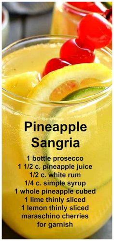 This Pineapple Sangria made with prosecco, pineapple juice, and white rum is sweet, refreshing, and perfect for summer parties! Refreshing Drinks, Fun Drinks, Yummy Drinks, Alcoholic Drinks, Yummy Food, Mixed Drinks, Beverages, Tasty, Party Drinks