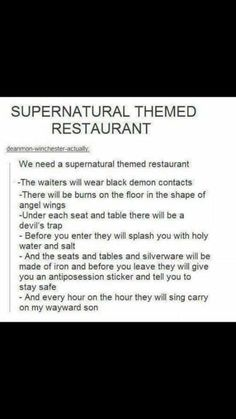 Oh chuck let there be a supernatural restaurant