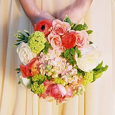 Rustic Rose and Viburnum Bouquet  - Colorful bouquets and boutonnieres celebrate spring's hottest hues - Wedding Flowers