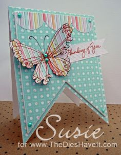 Stampendous butterfly, banner-shaped card
