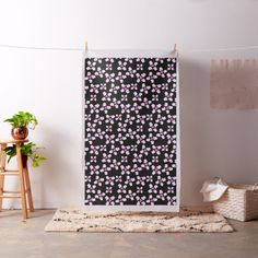 Decorate your pink, black and white room with this cute lamb fabric by SPKCreative Stationery and Gifts featuring Dance the Sheep with pink hearts for Valentine's Day.
