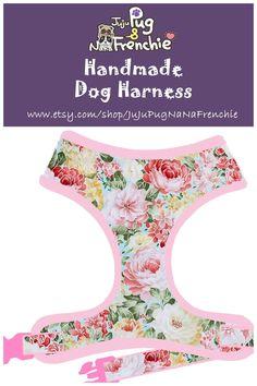 Rose dog harness, Girl dog harness, Handmade custom dog harness #pugharness #dogharness #Frenchbulldog #Frenchieharness #pinkdog