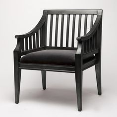 """The simple, esquire shape of our William lounge can add a subtly masculine air to any room. This is a chair for everyday living.   Available in 26""""Lx23""""Wx24""""H  Shown in Aged Black  Custom options available-see swatches"""