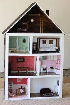 Superior Dollhouse For My Girls. Made Almost Entirely From Scraps Found In Garage  And Around The House. Remining Items Found At Hobby Lobby And Home Depot.