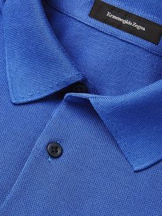 Bluettefarbenes Baumwoll-Poloshirt FW16 9896691 | Zegna