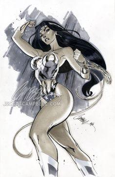 """Wonder Woman """"Gray"""" by *J-Scott-Campbell (http://j-scott-campbell.deviantart.com/)"""