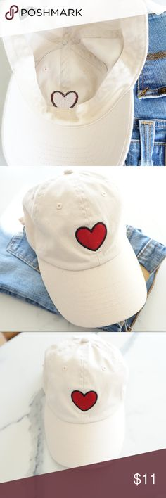 Urban Outfitters Heart Baseball Hat. ✖️ Used but in good condition.  ✖️ This hat is a really pale pink. ✖️ Some faint marks on the inside of the hat where it sits against the forehead (they're difficult to see in the photo provided). ✖️ Please feel free to contact me if you have any questions or need additional details. Urban Outfitters Accessories Hats