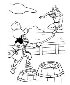 Peter Pan and Hook Coloring Page