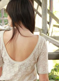 Antique lace blouse  low scoop back sheer modern by Minxshop, $90.00