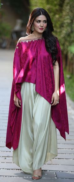 Wow asymmetrical Cape Blouse w/ Loose Harem Pants, Pakistani Fashion, model Natasha Khalid, via @sunjayjk