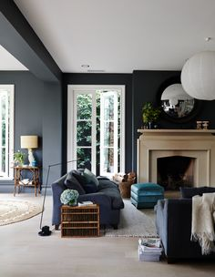 Perfect Navy Blue Living Room with Best 25 Navy Living Rooms Ideas On Home Decor Navy Blue Living Dark Walls Living Room, Navy Blue Living Room, Living Room Color Schemes, Living Room With Fireplace, Living Room Paint, Living Room Chairs, Home Living Room, Living Room Decor, Dark Rooms
