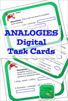 Analogies task cards - digital version for Google slides, vocabulary activity for middle school and upper elementary classes. Reading Lessons, Reading Skills, Writing Skills, Fun Classroom Activities, Vocabulary Activities, Multiple Meaning Words, Reading Comprehension Skills, Thinking Skills, Upper Elementary