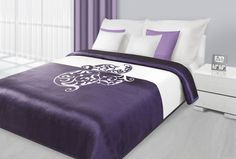 Fialovo bílé přehozy na postel s bílým abstraktním motivem Bed, Blankets, Furniture, Home Decor, Homemade Home Decor, Stream Bed, Blanket, Home Furnishings, Carpet