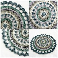 Yarn: Vinnis Nikkim in Green Slate, Slate, Stone, Sea Green, Aluminium and Grey ... Pigtails mandala #crochet