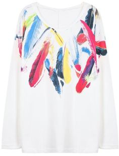 White Long Sleeve Feather Print Loose T-Shirt - Sheinside.com